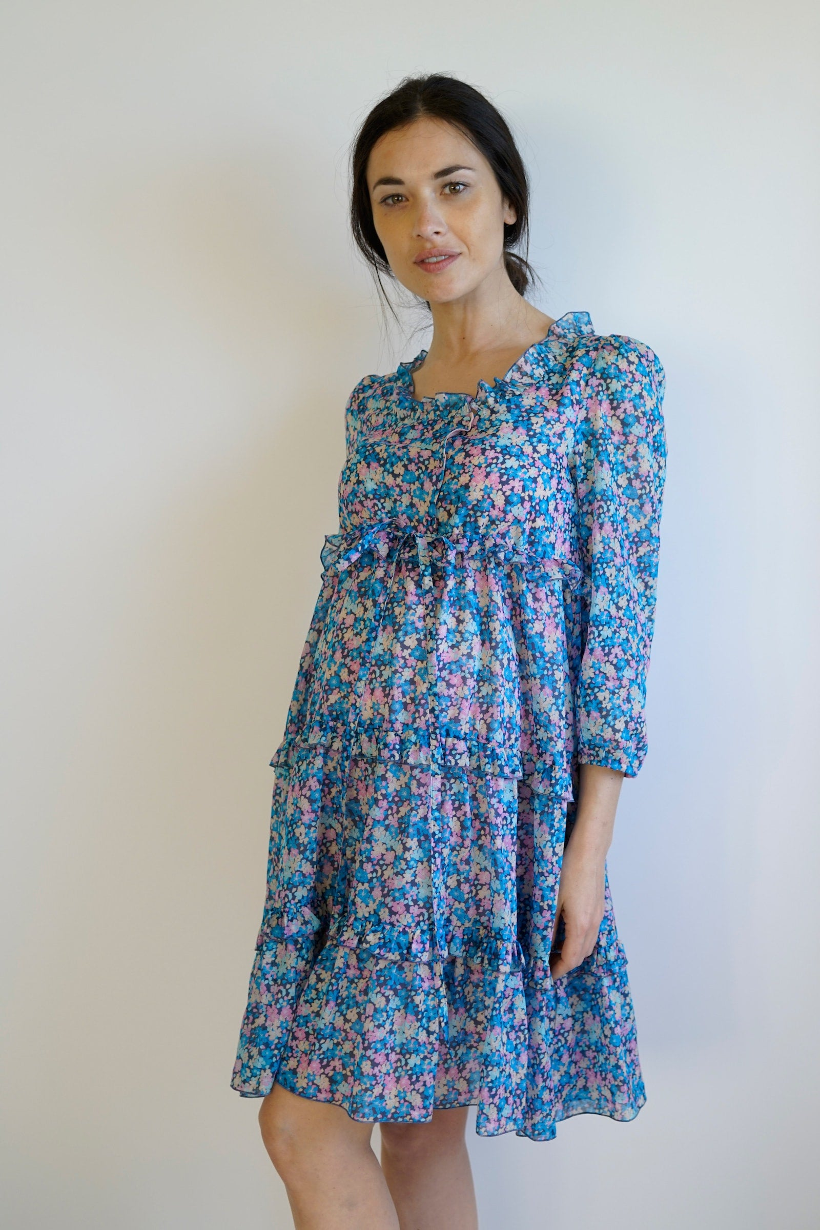 Lolla Maternity Dress - Nursing Dress - Blue