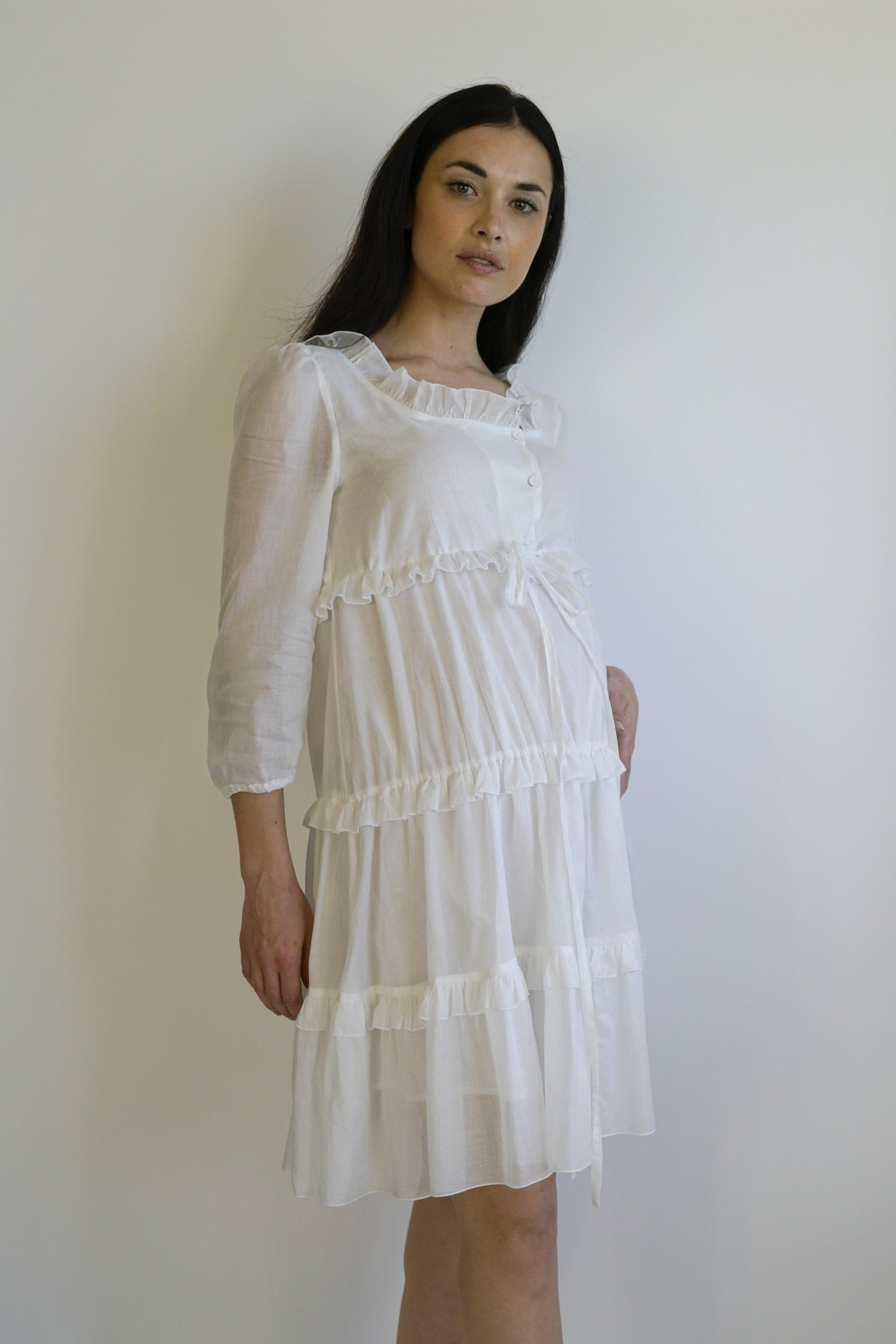 Lolla Maternity Dress - white
