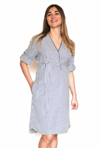 Marta Maternity & Nursing Dress - Blue