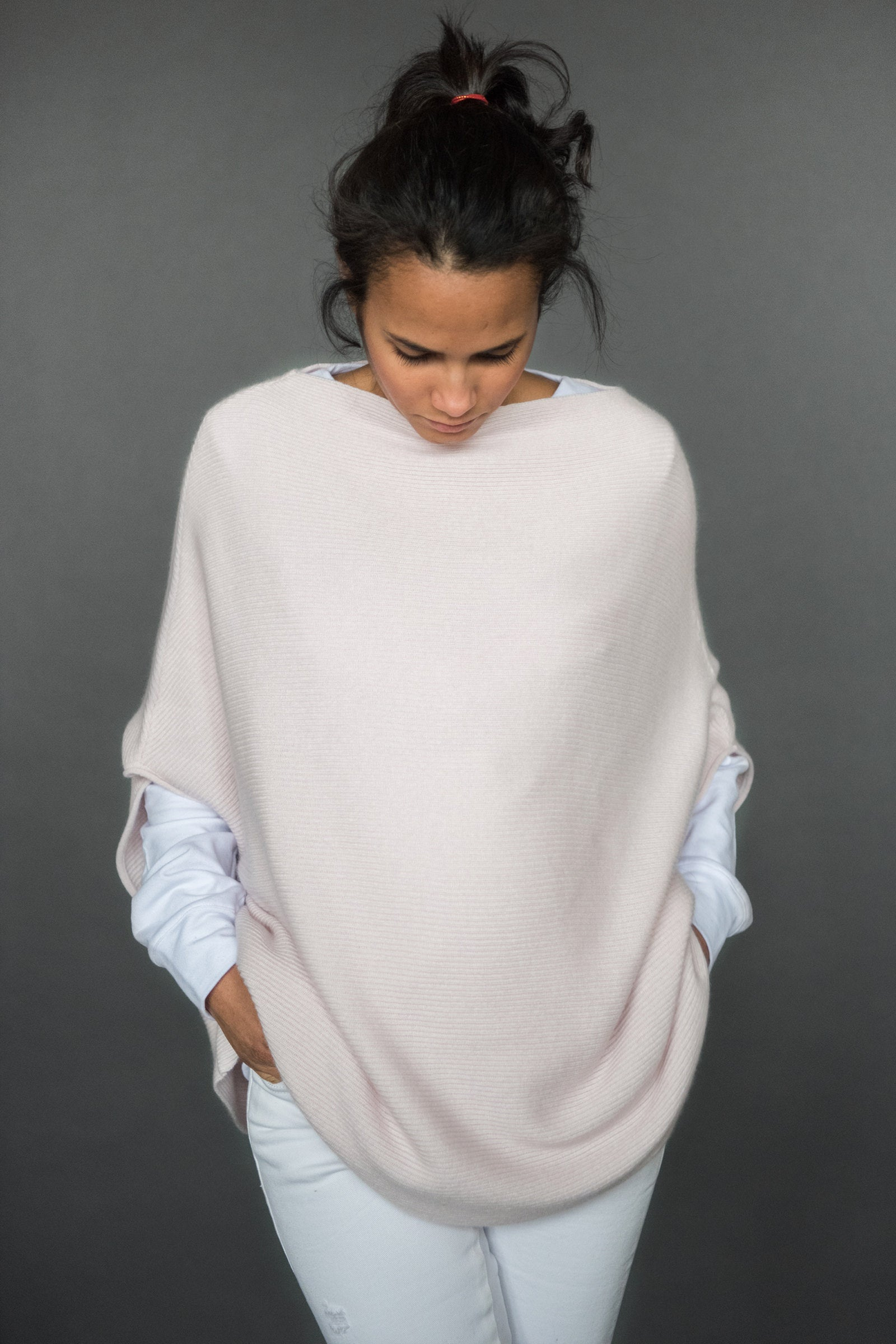Rachele Poncho - front - pale pink