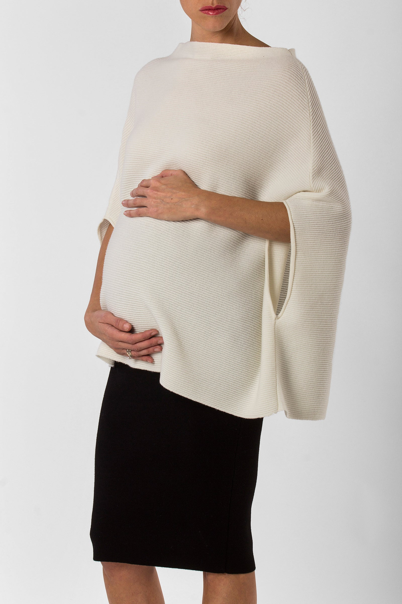 rachele nursing poncho - front - winter white