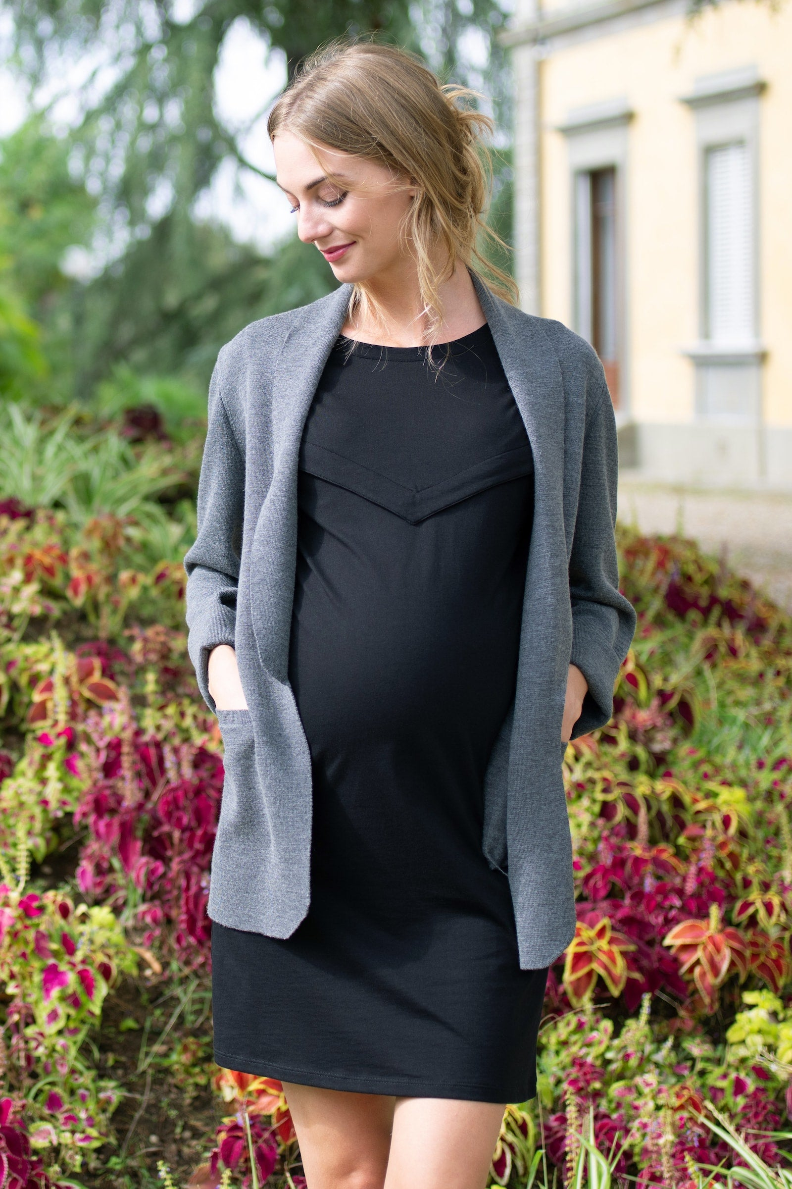 GEMMA TEE DRESS - MATERNITY AND NURSING DRESS - BLACK