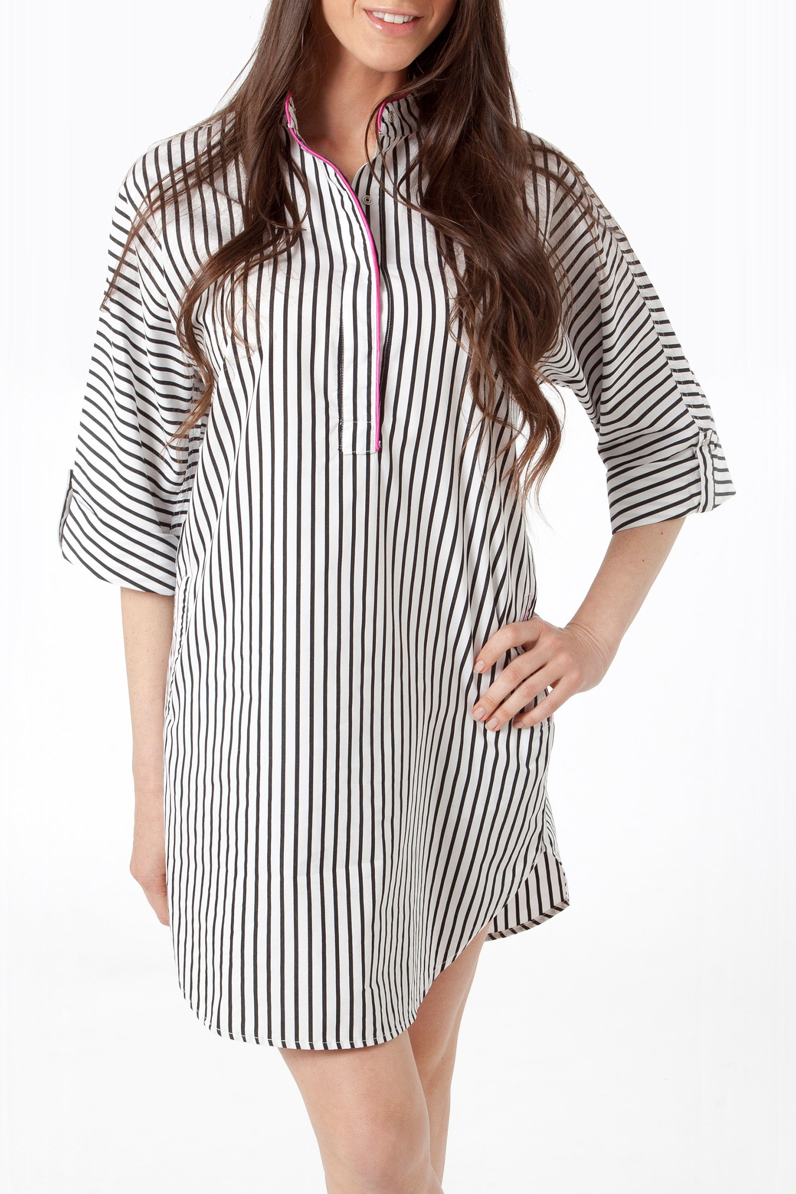 vivian shirtdress - front - black striped