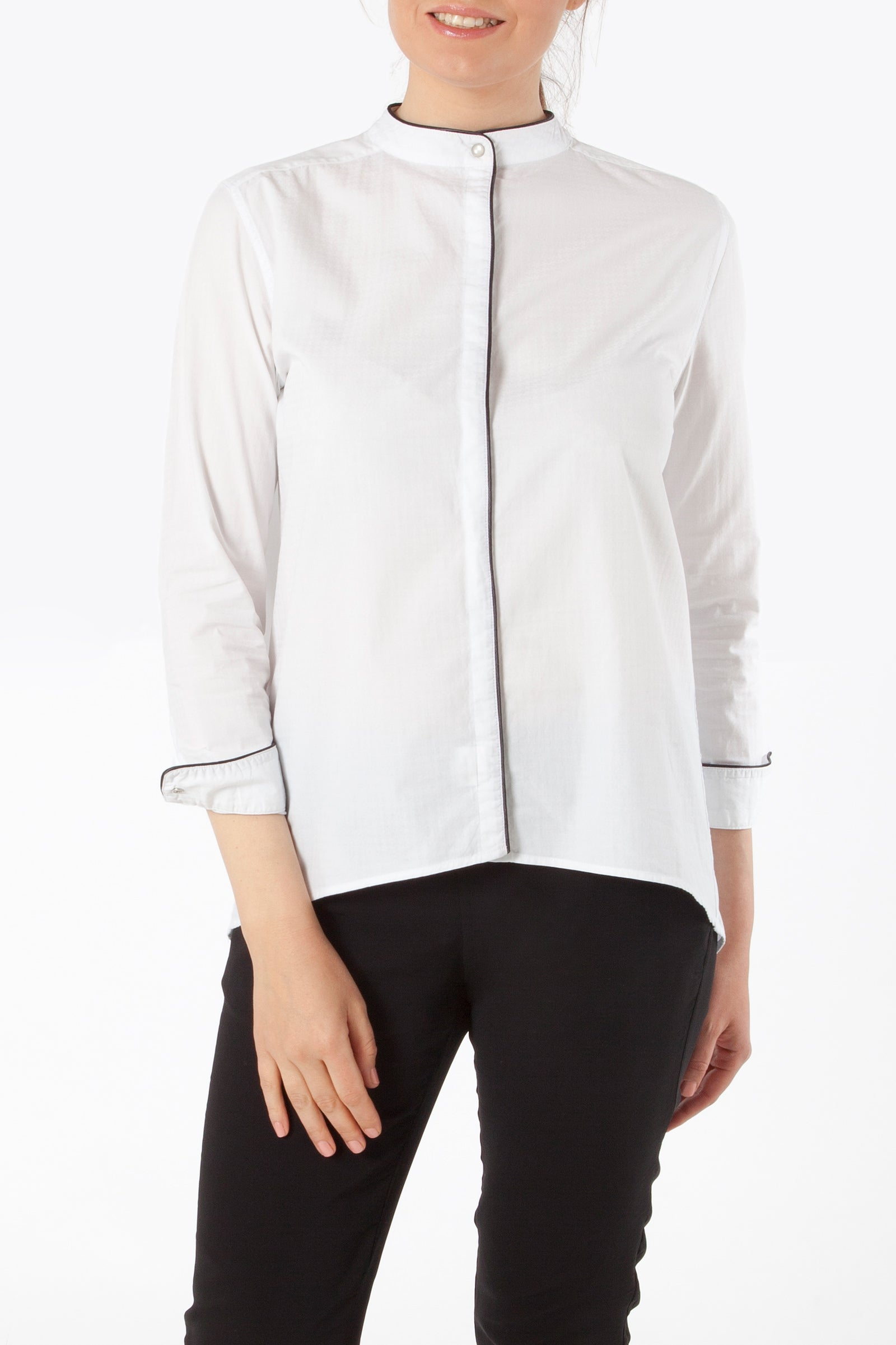 gaia button down shirt - nursing top - white striped