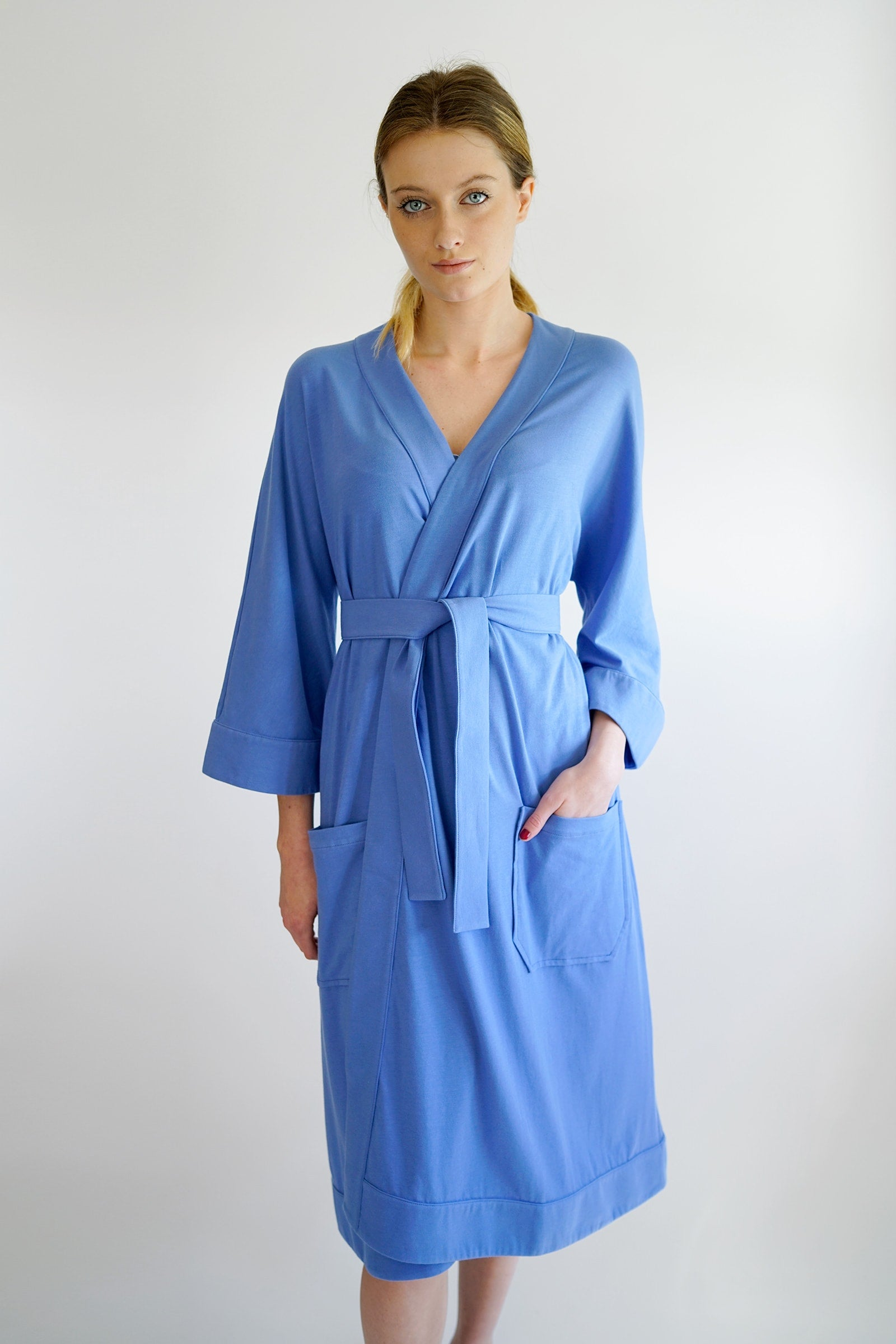 eleonora maternity robe - blue
