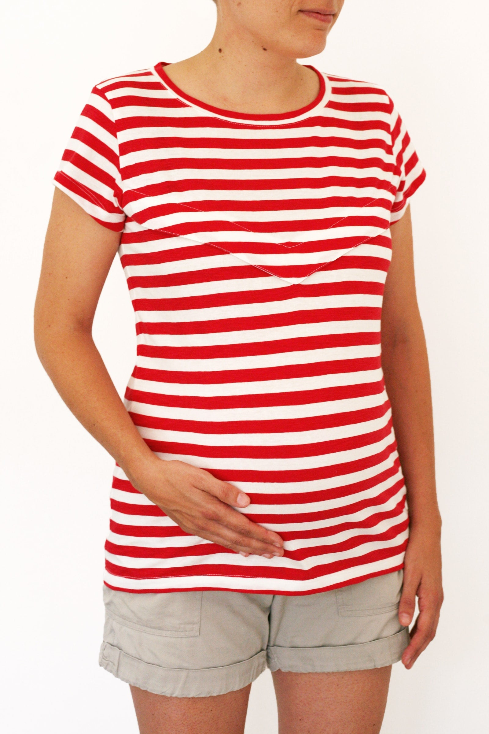 Gemma Tee - front - red striped