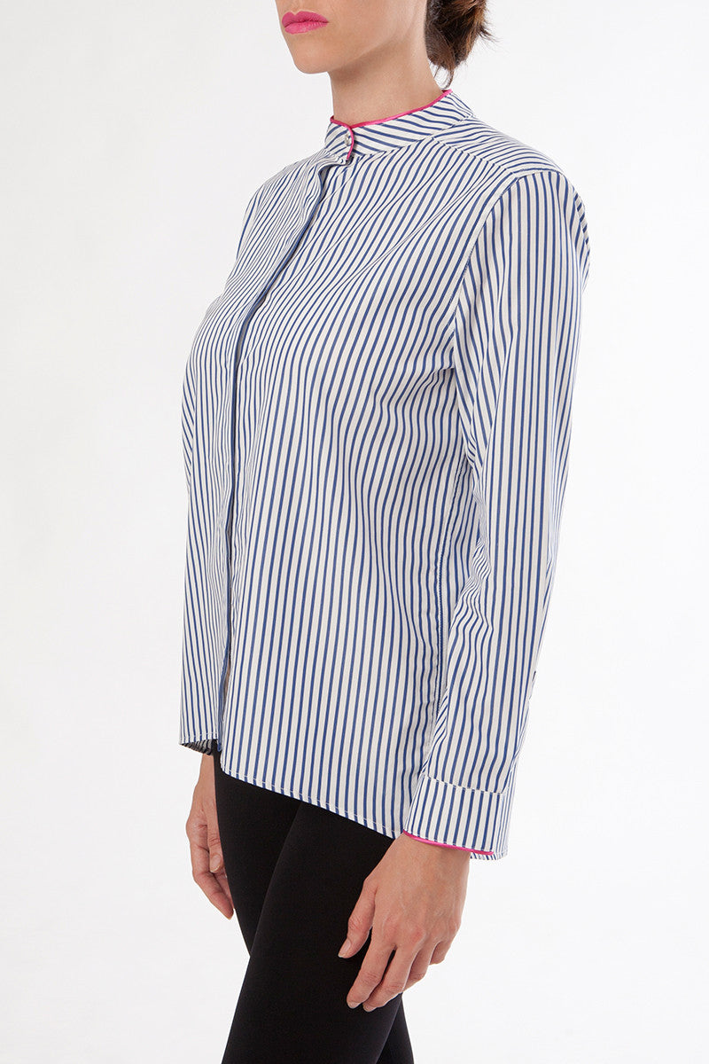 gaia button down shirt - nursing top - blue striped
