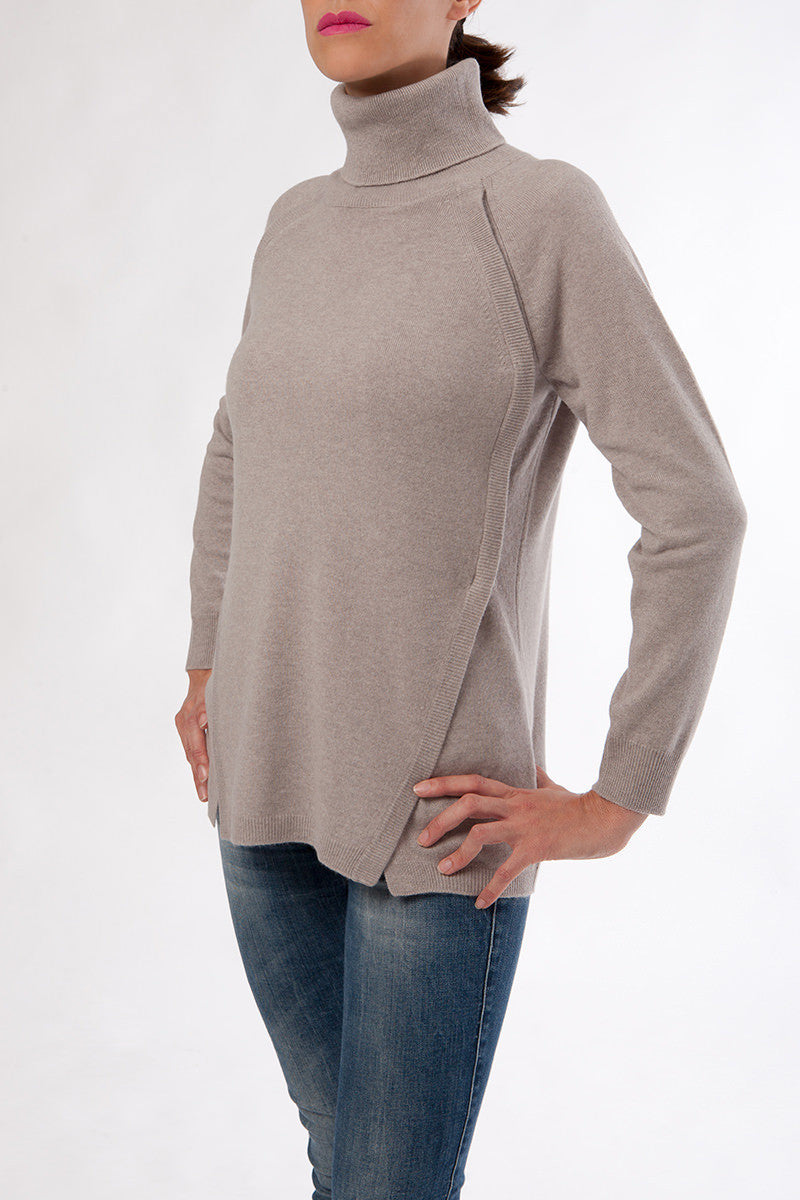 katelyn turtleneck - nursing sweater - cashmere turtleneck - beige