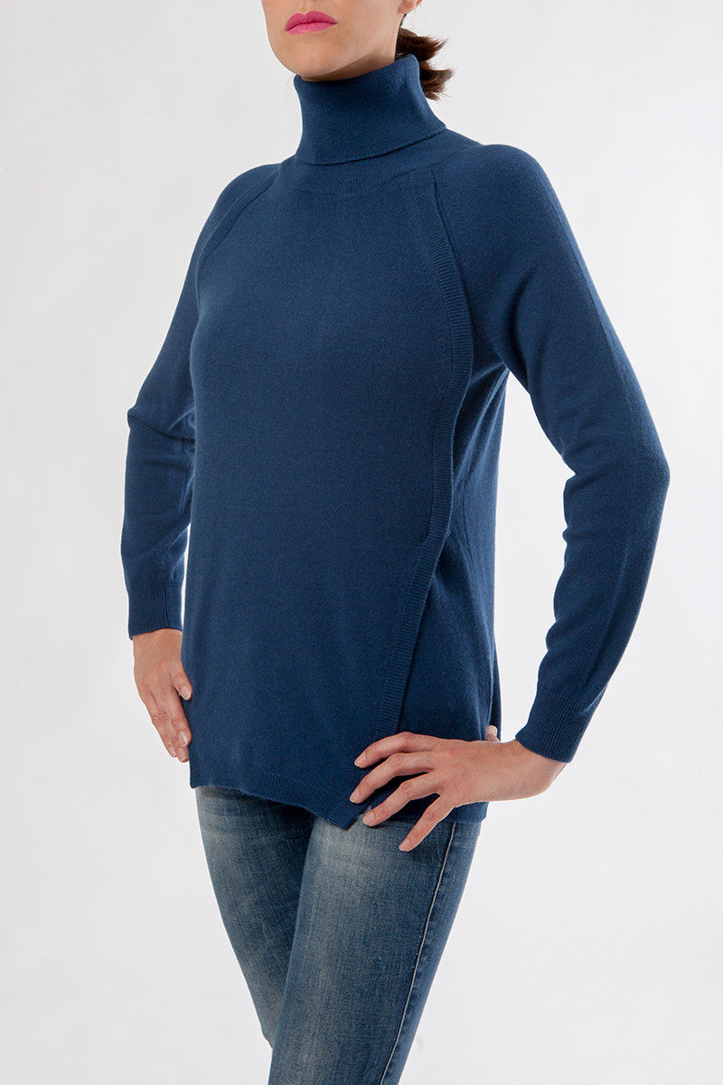 katelyn turtleneck - nursing sweater - cashmere turtleneck - blue