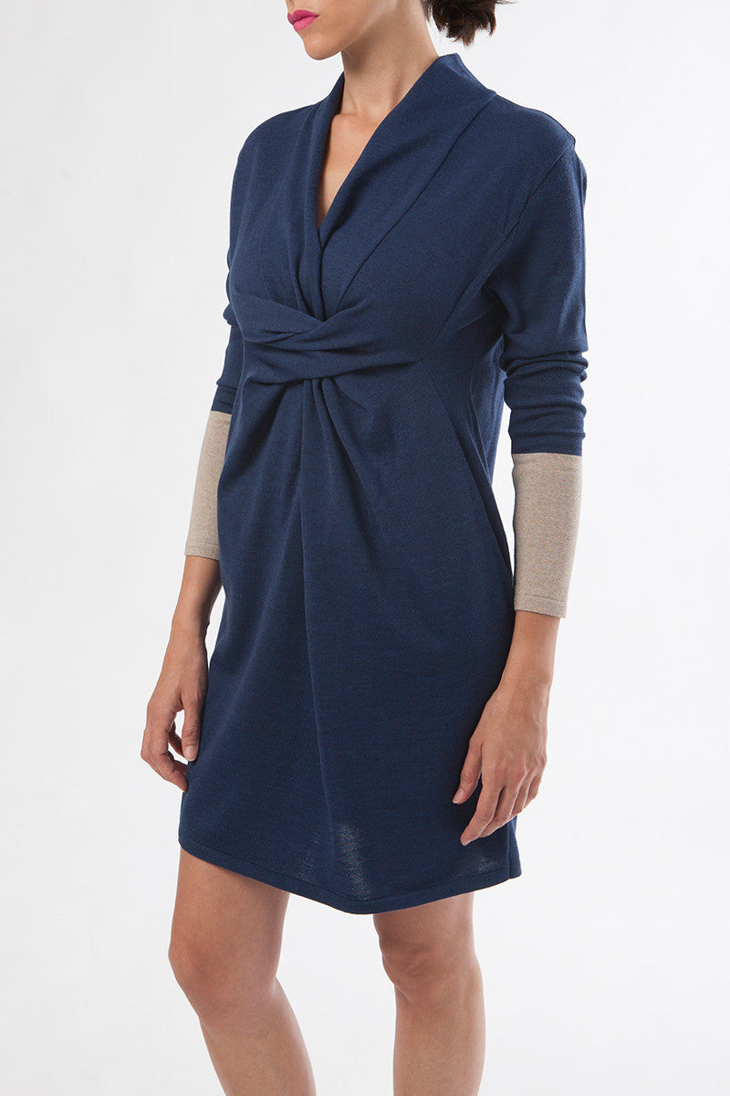 pregnancy dress - nursing dress - merino wool dress - blue