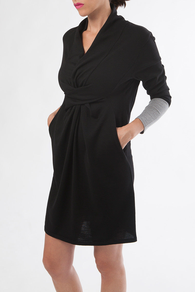 pregnancy dress - breastfeeding dress - nursing dress - merino wool dress - black