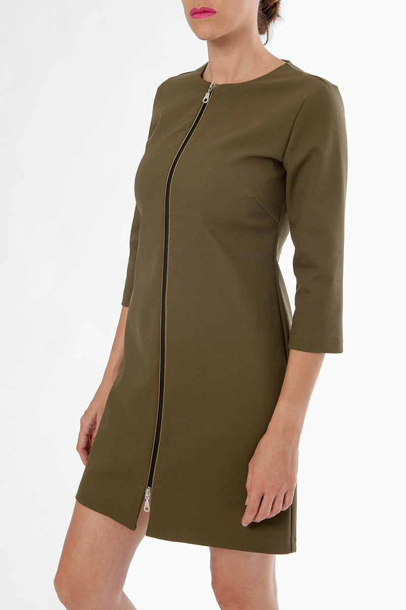 zoe nursing dress - front - military