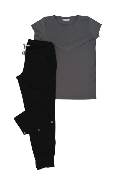 Gemma - Black Jogger / Grey Tee