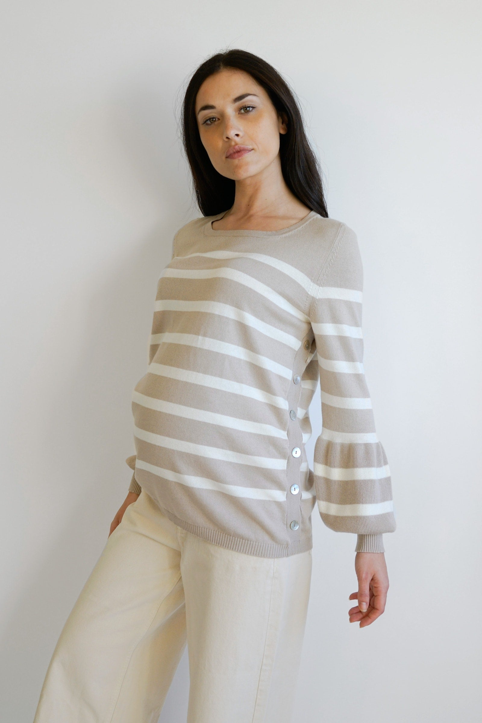 Anita Striped Nursing Maternity Sweater - Beige