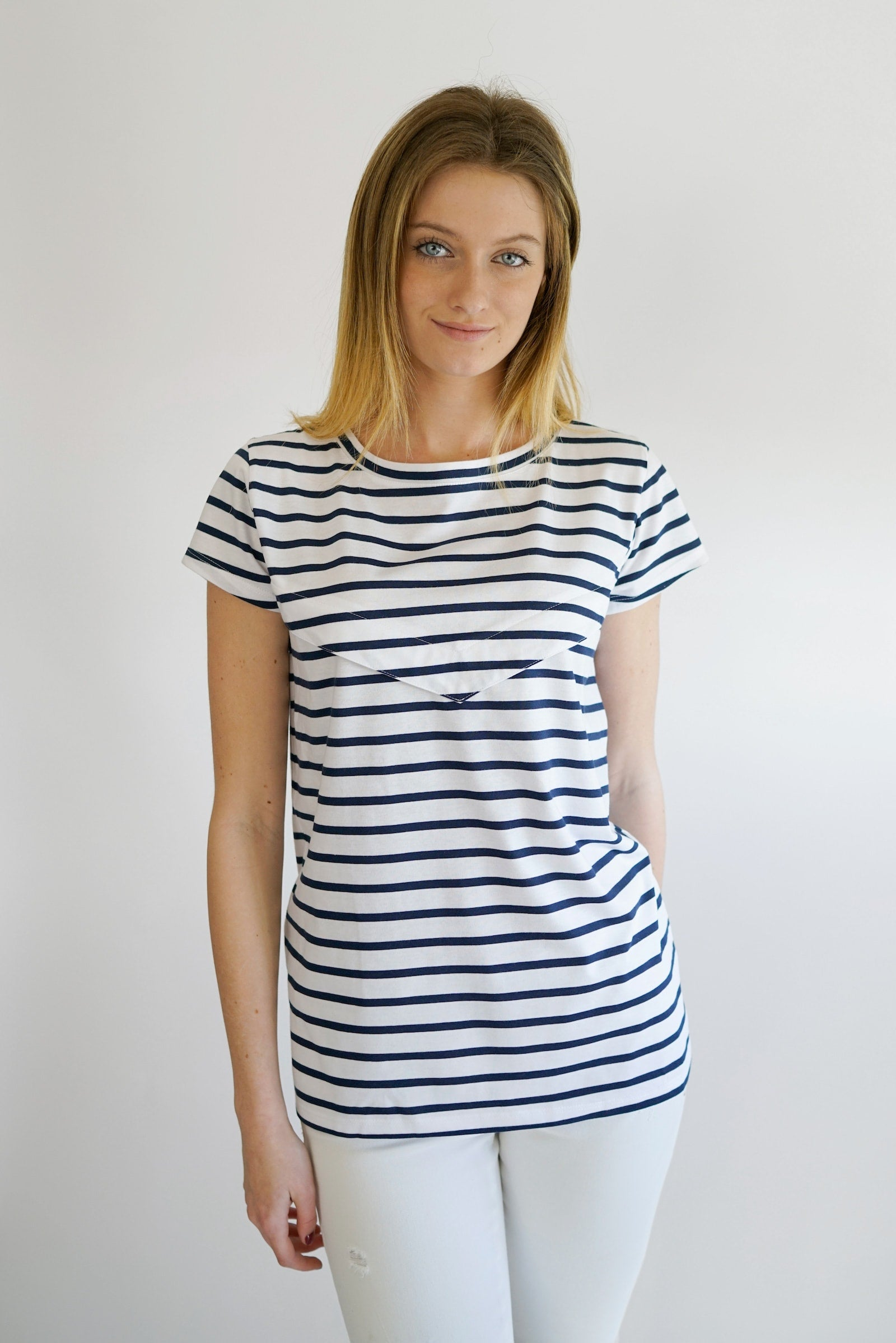 Gemma Tee - front pregnant - navy stripes