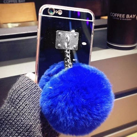 Coque Protection Iphone Avec Miroir Et Boule En Fourrure (Iphone 7/7+/6/6S/6+/5S/5Se/4) Bleu / Iphone 4 4S 4G