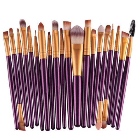 Set De 20 Pinceaux En Fibre Synthétique Violet/or