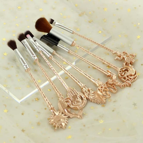 Set De 8 Pinceaux De Maquillage Style Game Of Thrones Or Rose
