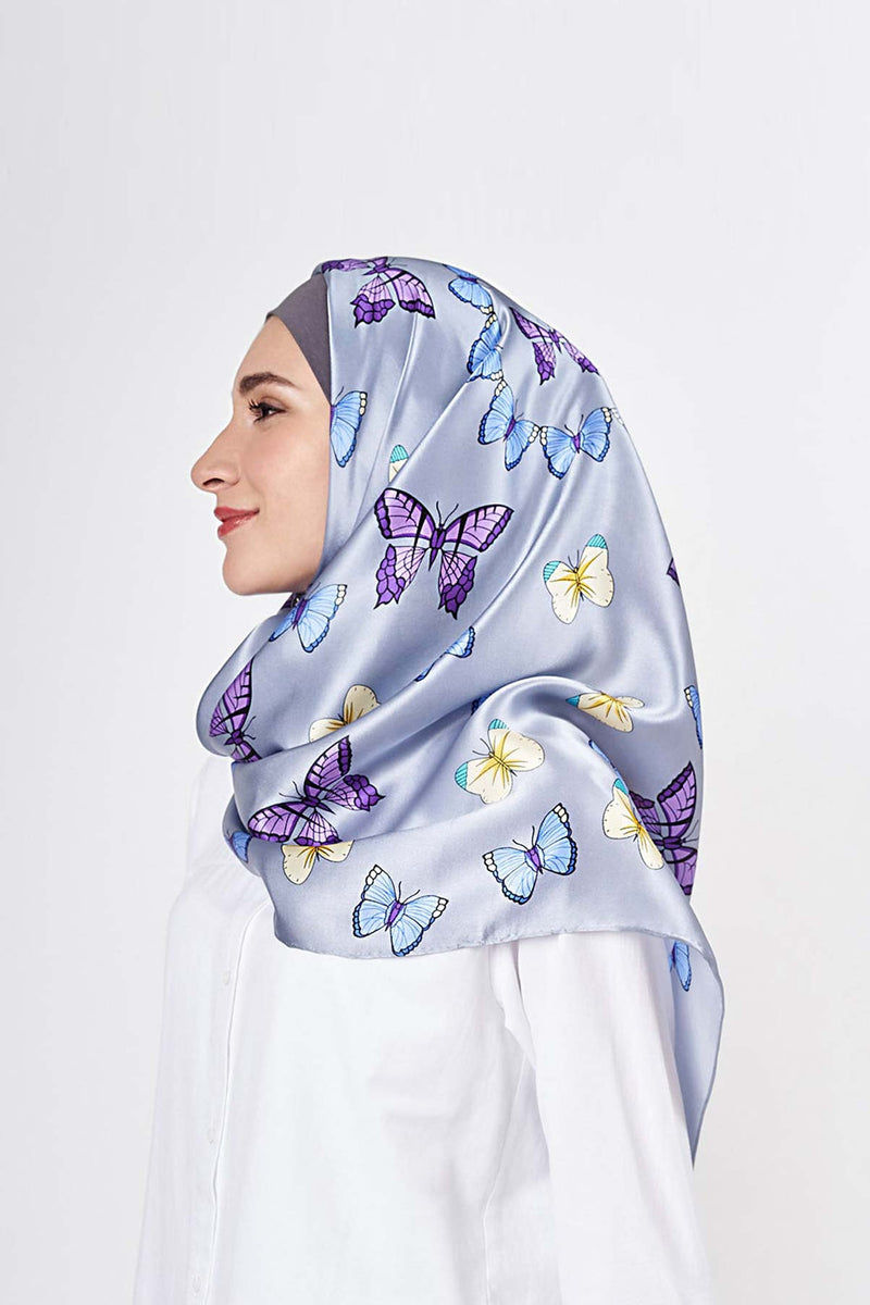 float like a butterfly square SERIOUSLY SATIN SILK Large