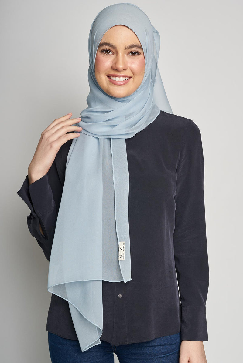 text -- crepe silk baby blue