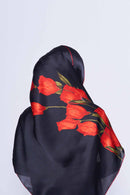 you got roses scarf CREPE SATIN SILK