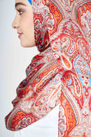 text -- orange heritage paisley
