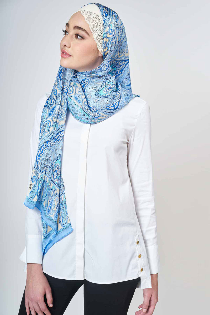 text -- jet set blue heritage paisley
