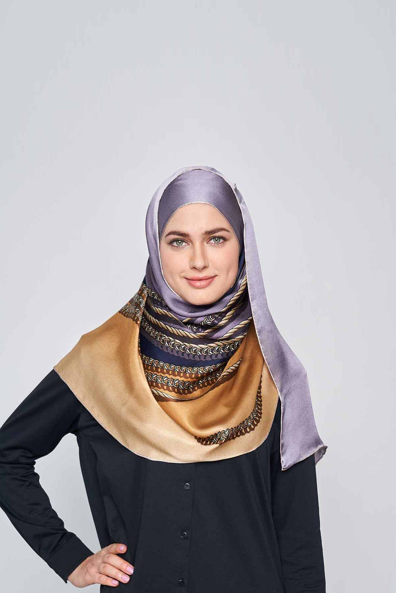 queenly chains scarf CREPE SATIN SILK