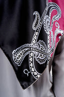 text -- high gloss big paisley black magenta