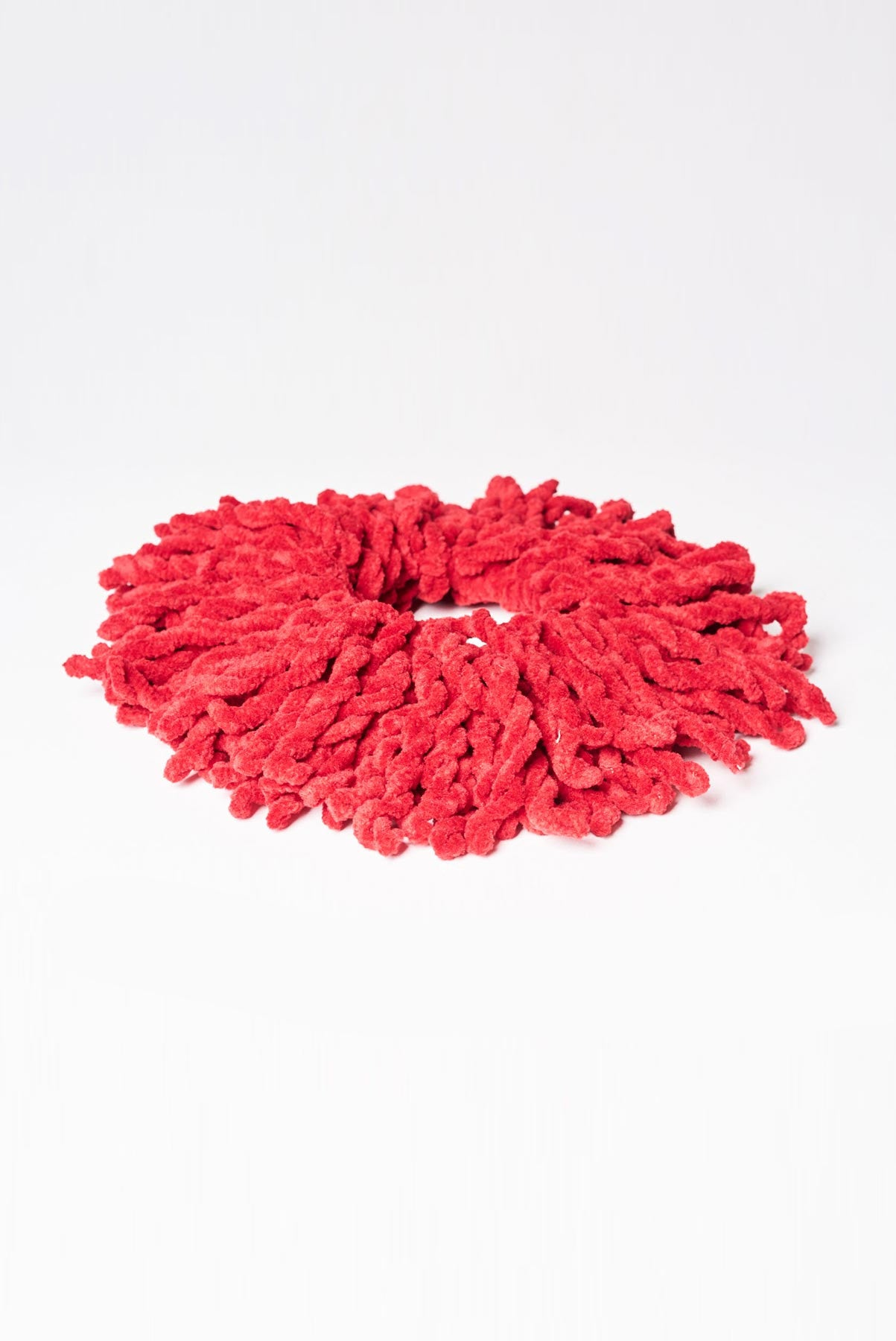 text -- scrunchie lush coral