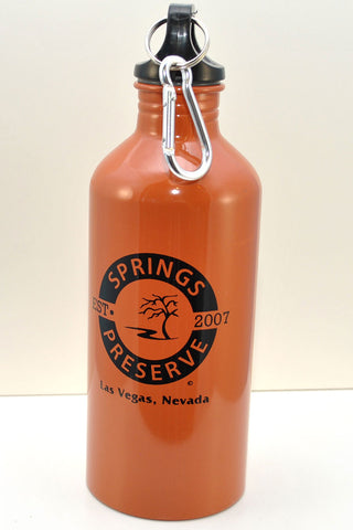 "Orange aluminum water bottle with clip on top, featuring Springs Preserve logo that says ""Est. 2007"""