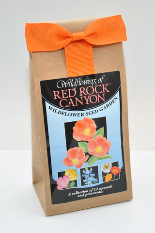 "Brown paper bag with ""Red Rock Canyon"" seed label."