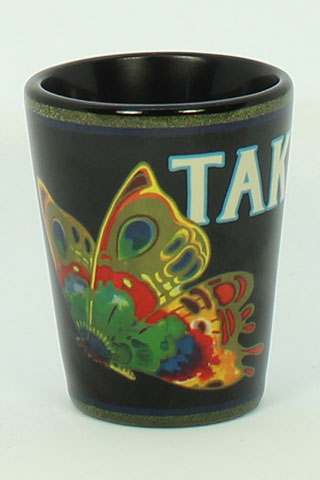 Black shot glass with butterfly design