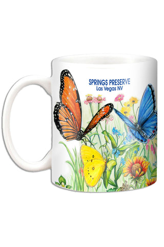 Mug featuring illustration of butterflies on flowers.