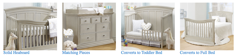 Sorelle Verona Collection 2 Piece Set in London Fog - Crib and Double Dresser