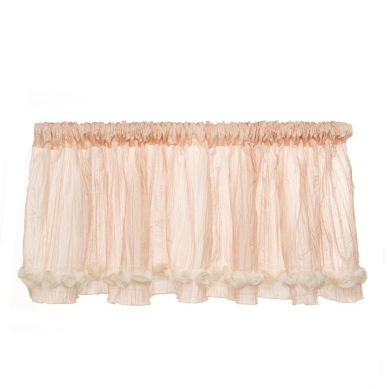 "GLENNA JEAN CONTESSA WINDOW VALANCE (PINK CRINKLE WITH ROSES) (APPROXIMATELY 96X21"") - Posh Baby & Teen"
