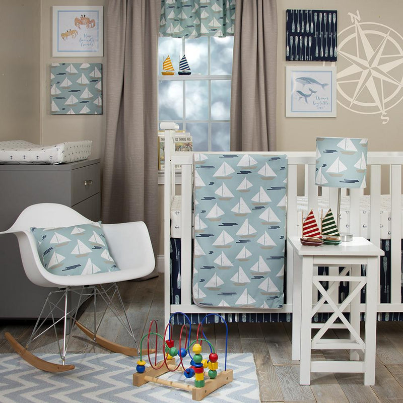 LITTLE SAIL BOAT 2PC STARTER SET (INCLUDES ANCHOR PRINT SHEET, CRIB SKIRT) - Posh Baby & Teen