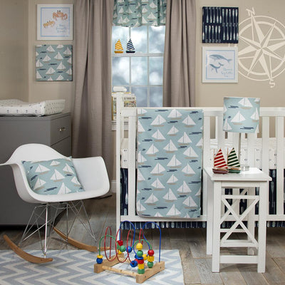 LITTLE SAIL BOAT 4PC SET (INCLUDES QUILT, BUMPER, SHEET, CRIB SKIRT) - Posh Baby & Teen