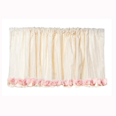 "Glenna Jean Crib Bedding VICTORIA VALANCE (IVORY CRINKLE WITH ROSES) (APPROXIMATELY 96X21"") New York New Jersey Staten Island"
