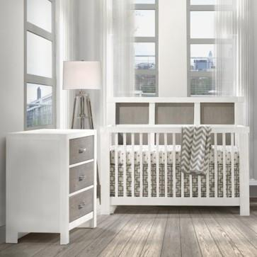 Natart Rustico Moderno Collection 2 Piece Nursery Set - Crib and 3 Drawer Dresser in White and Owl - Posh Baby & Teen