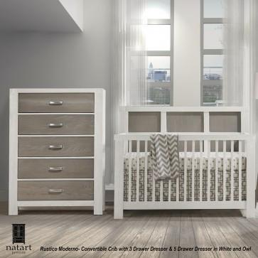 Natart Rustico Moderno Collection 2 Piece Nursery Set - Crib and 5 Drawer Dresser in White and Owl - Posh Baby & Teen