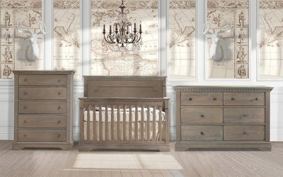 Natart Ithaca 3 Piece Nursery Set Crib, Double Dresser, and 5 Drawer Dresser - Posh Baby & Teen