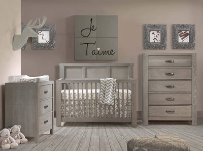 Natart Rustico 3 Piece Nursery Set-Crib, Double Dresser, and 5 Drawer Dresser