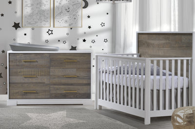 Nest Juvenile Vibe Collection 2 Piece Nursery Set Crib and Double Dresser