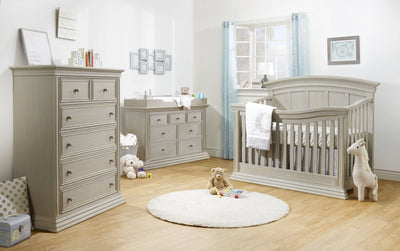 Sorelle Verona Collection 3 Piece Set in London Fog - Crib, Double Dresser, and 5 Drawer Dresser