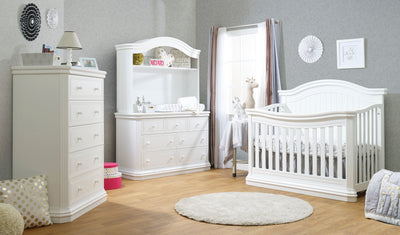 Brixy Avanti Collection White 2 Piece Set - Crib and Double Dresser