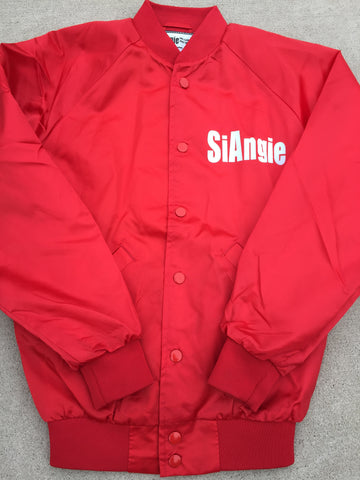 Red SiAngie satin jacket.
