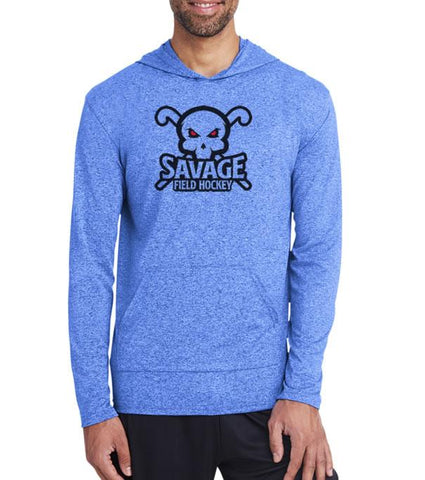 Savage Field Hockey Heather Royal Performance Hoodie Front