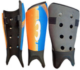 Mercian Elite field hockey shin guards orange blue