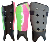 Mercian Elite field hockey shin guards green pink